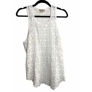 Lucky Brand White Stretch Lace Tank Top Sz S